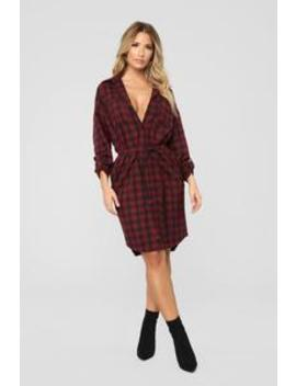 Wine O'clock Flannel Shirt Dress   Burgundy by Fashion Nova