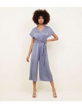 Grey Satin Button Front Cropped Jumpsuit by New Look