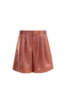 Tinsel Metallic Silk Blend Shorts by Raey