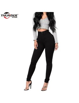 2018 Butt Lift Jeans For Women High Waist Slim Black White Denim Women Pants Skinny Pencil Stretch Pants Women Jeans by Thunderstar
