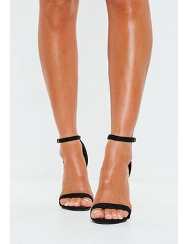 Black Faux Suede Barely There Heels by Missguided