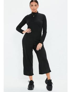 Black High Neck Ribbed Culotte Jumpsuit by Missguided