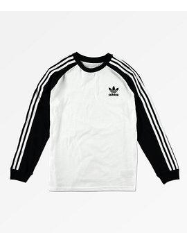 Adidas Boys Trefoil White & Black Long Sleeve T Shirt by Adidas