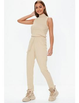 Sand Ribbed Roll Neck Jumpsuit by Missguided