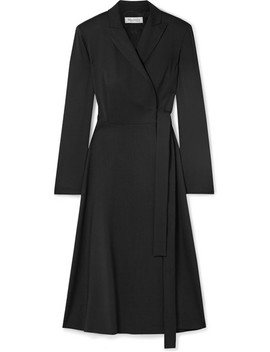 Wool Crepe Wrap Midi Dress by Max Mara