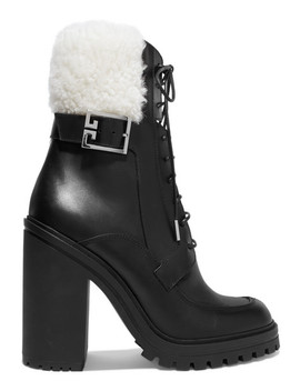 Aviator Shearling Trimmed Leather Ankle Boots by Givenchy
