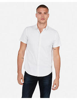 Slim Wrinkle Resistant Dot Short Sleeve Performance Button Down Shirt by Express