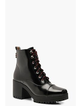 Chunky Square Toe Hiker Boots by Boohoo