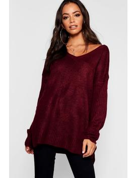 Jumper With V Neck Detail Front And Back by Boohoo
