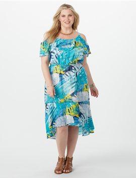 Plus Size Chiffon Palm Print High Low Dress by Dressbarn
