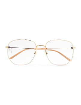 Hexagon Frame Gold Tone And Acetate Optical Glasses by Gucci