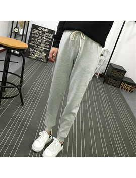 Summer New Fitness Long Pants Female Leisure Soft Trousers For Women Drawstring Solid Color Casual Harem Pants Woman M 2 Xl Size by Jielur