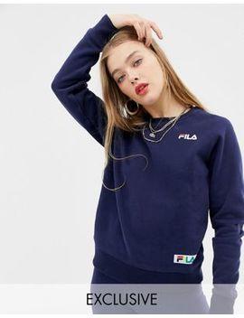 Fila Oversized Boyfriend Sweatshirt With Woven Chest Logo by Fila
