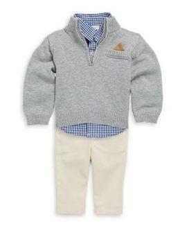 Baby Boy's Cotton Three Piece Button Down Checker Shirt, Rib Knit Sweater & Pants Set by Miniclasix