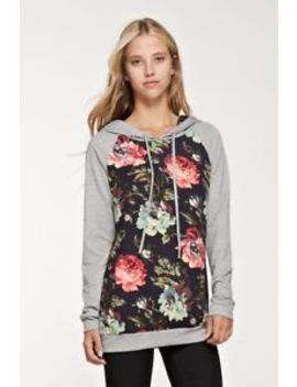 Nwt 12 Pm By Mon Ami Grey Floral Hoodie   Large 12/14 Stitch Fix by 12 Pm By Mon Ami
