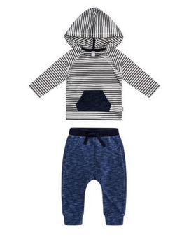 Baby Boy's Two Piece Monster Striped French Terry Hooded Top & Pants Set by Petit Lem