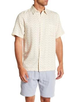 Short Sleeve Micro Print Silk Woven Shirt by Toscano