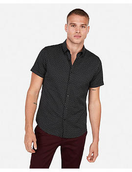 Slim Wrinkle Resistant Micro Print Short Sleeve Performance Shirt by Express