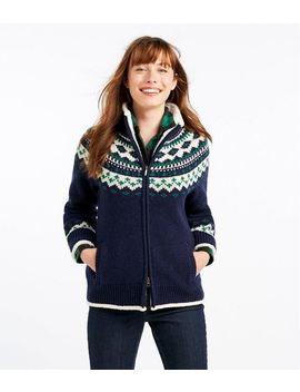 L.L.Bean Classic Ragg Wool Sweater, Sherpa Lined Zip Cardigan Fair Isle by L.L.Bean