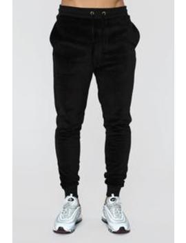 Hue Velour Track Pants   Black by Fashion Nova