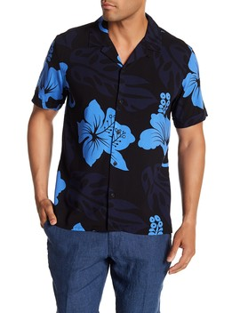 Short Sleeve Tropical Print Woven Shirt by Toscano