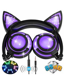 [85db Volume] Kids Cat Ear Headphones Girls Boys Toddler 85d B Volume Limited Microphone Led Light,Foldable Rechargeable Wired Over/On Game Headsets Christmas School Phone Tablet Amenon by Amenon