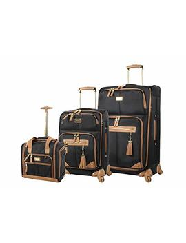 Steve Madden Luggage 3 Piece Softside Spinner Suitcase Set Collection (Harlo Black) by Steve Madden