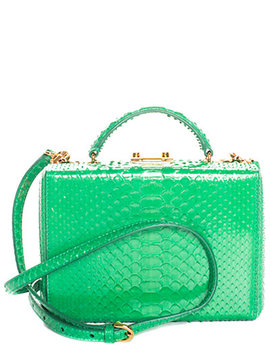 Mark Cross Green Leather Grace Satchel by Mark Cross