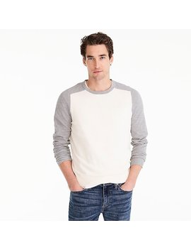 Cotton Cashmere Piqué Crewneck Baseball Sweater by J.Crew