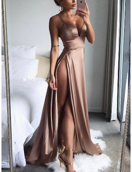 Pink Satin Look Spaghetti Strap Plunge Thigh Split Dress by Choies