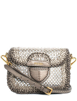 Prada Silver Metallic Woven Leather Crossbody by Prada