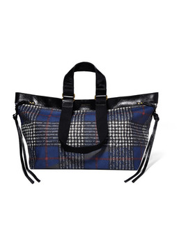 Wardy Patent Leather Trimmed Tartan Coated Canvas Tote by Isabel Marant