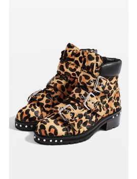 **Wide Fit Leopard Print Hiker Boots by Topshop