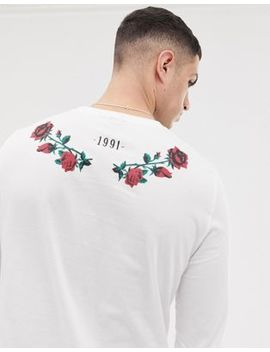 Asos Design Long Sleeve T Shirt With Rose Back Print by Asos Design
