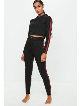 Black Sports Stripe Cropped And Hoodie Legging Set by Missguided