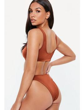 Rust Scoop Neck Keyhole Bikini Top by Missguided