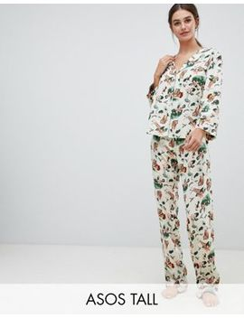Asos Design Tall Safari Print Traditional Pyjama Set In 100 Percents Modal by Asos Design