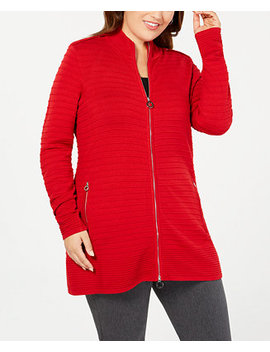 Black Label Plus Size Zip Front Ribbed Knit Cardigan by Belldini