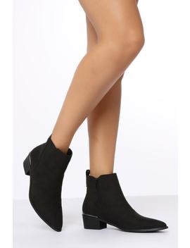 Black Suede Short Ankle Boots by I Saw It First