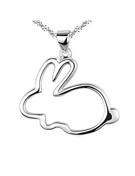 Eove Women Sterling Silver Cute Small Bunny Pendants Necklaces Gifts For Women Girl by Eove