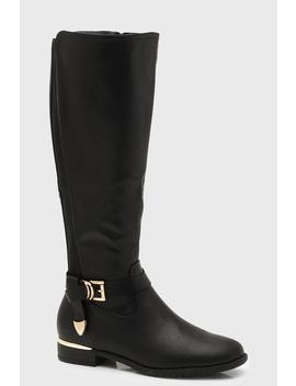 Buckle Trim Flat Rider Boots by Boohoo