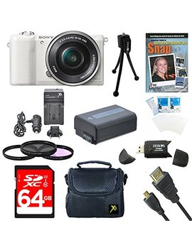"Sony A5100 Ilce5100 L/B Ilce5100 L Ilce5100 Ilce5100lb 16 50mm Interchangeable Lens Camera W/ 3"" Flip Up Lcd (White) Bundle W/ 64 Gb Sd Card, Spare Battery, Ac/Dc Charger, Micro Hdmi Cable+ More by Sony"