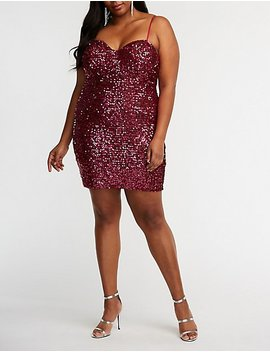 Plus Size Sequin Bustier Bodycon Dress by Charlotte Russe