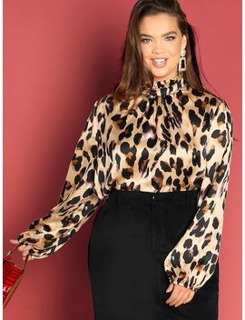 Plus Leopard Print Blouse by Shein