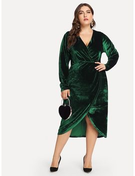 Plus Plunge Neck Wrap Velvet Dress by Shein