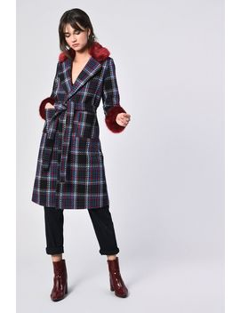 **Faux Fur Trim Check Overcoat By Glamorous by Topshop