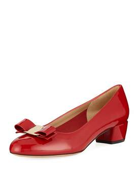 Vara 1 Patent Bow Pumps, Red (Rosso) by Salvatore Ferragamo