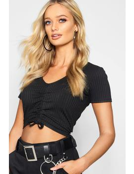 Ruched Front Rib Cap Sleeve by Boohoo