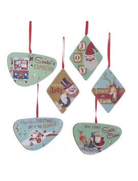 Wood Retro Set Of 6 Christmas Ornaments Santa Snowman Vintage Art New G0104 by Ebay Seller