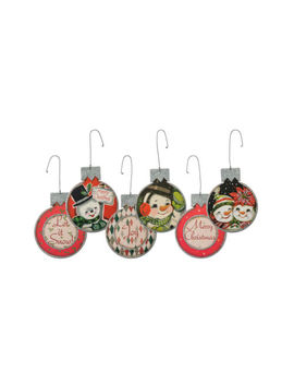 Retro Snowman Wood Ornament Set Of 3 Holiday Christmas Vintage Style Decoration by Primitives By Kathy